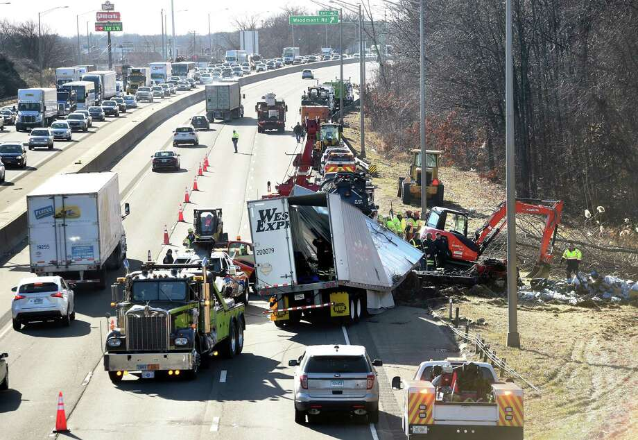 Traffic was backed up in both directions on Interstate 95 following a tractor-trailer crash in Milford Friday. Photo: Arnold Gold / Hearst Connecticut Media / New Haven Register