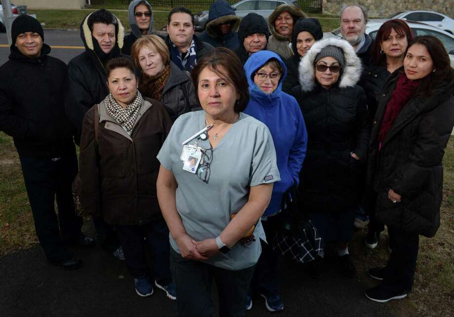 Connecticut Health Care Associates Local 1213 President Annabel Figueroa and members of her unit outside Norwalk Hospital on Thursday. Roughly 24 skilled maintenance workers and 500 service workers at Norwalk Hospital, recently hit a stalemate in contract negotiations with Norwalk Hospital (Western Connecticut Health Network). Photo: Erik Trautmann / Hearst Connecticut Media / Norwalk Hour