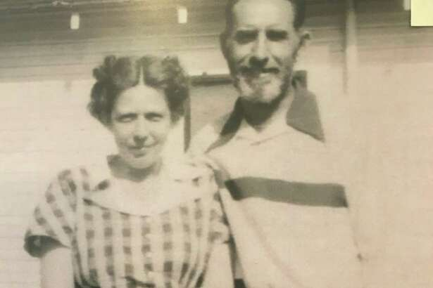 Dan M. Houlihan and Louise Kelly Houlihan at their home on the Hooper Oil & Gas Lease in 1949. Dan M. Houlihan worked in the Conroe oilfield from the early 1930s up until his death in the early 1980s.