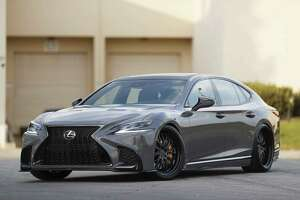 For last November's Specialty Equipment Market Association industry trade show, Lexus spiffed up its LS flagship sedan with 22-inch custom WORK wheels and Michelin Pilot Sport tires. (Lexus photo)