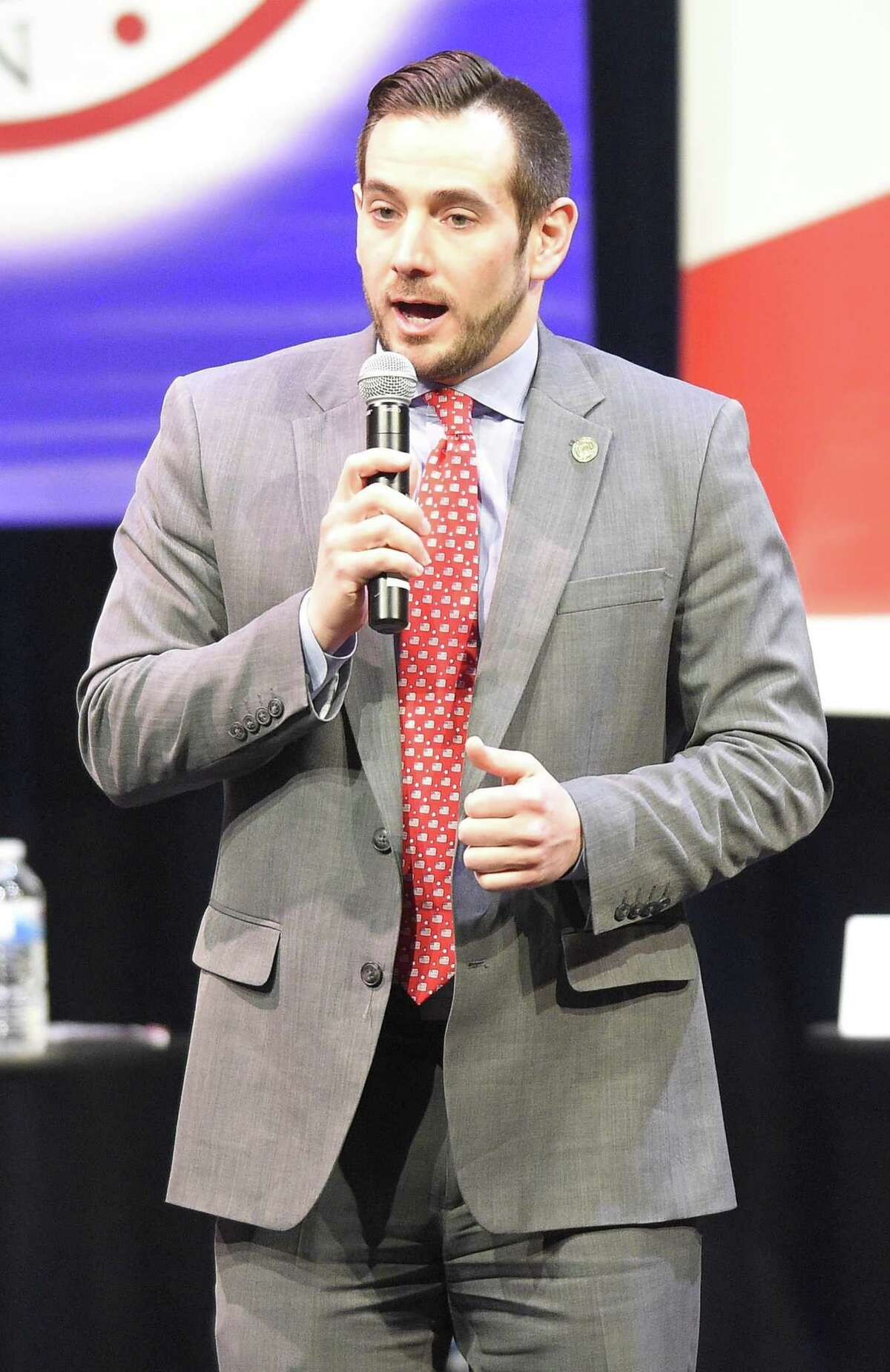 JR Romano, Connecticut Republican Party Chairman welcomed people to the Connecticut 4th District GOP Debate featuring candidates for governor at Saxe Middle School in New Canaan on April 18, 2018.