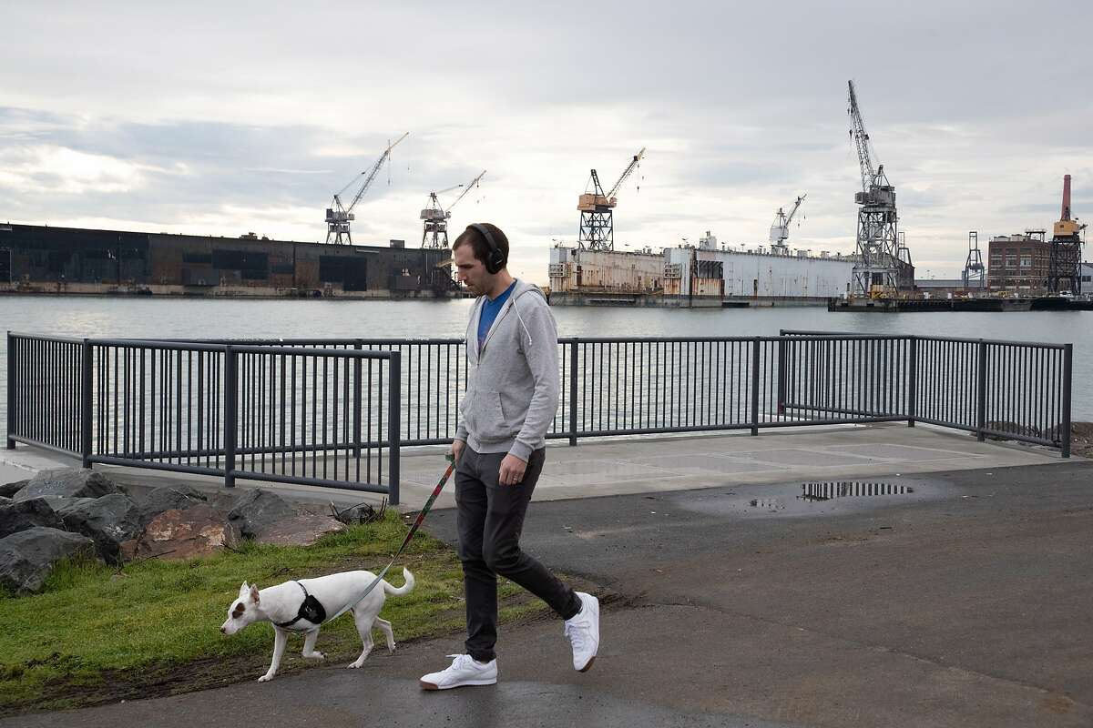 Adam Cadien with his dog Juno takes a walk with unused cranes on Pier 70 in the background on Friday, Jan. 11, 2019, in San Francisco, Calif.