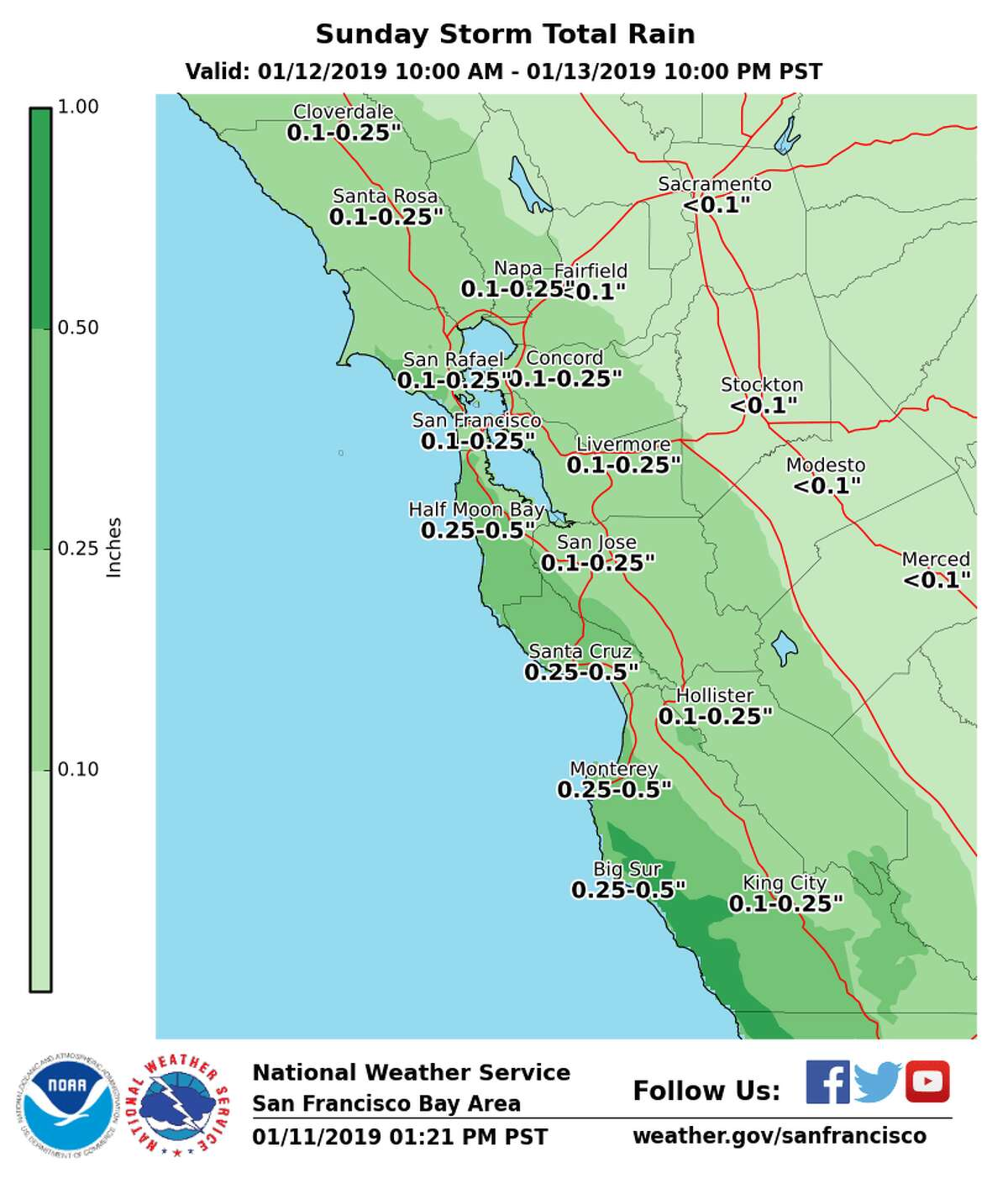The National Weather Service rain forecast for Jan. 12 to Jan. 13, 2019.