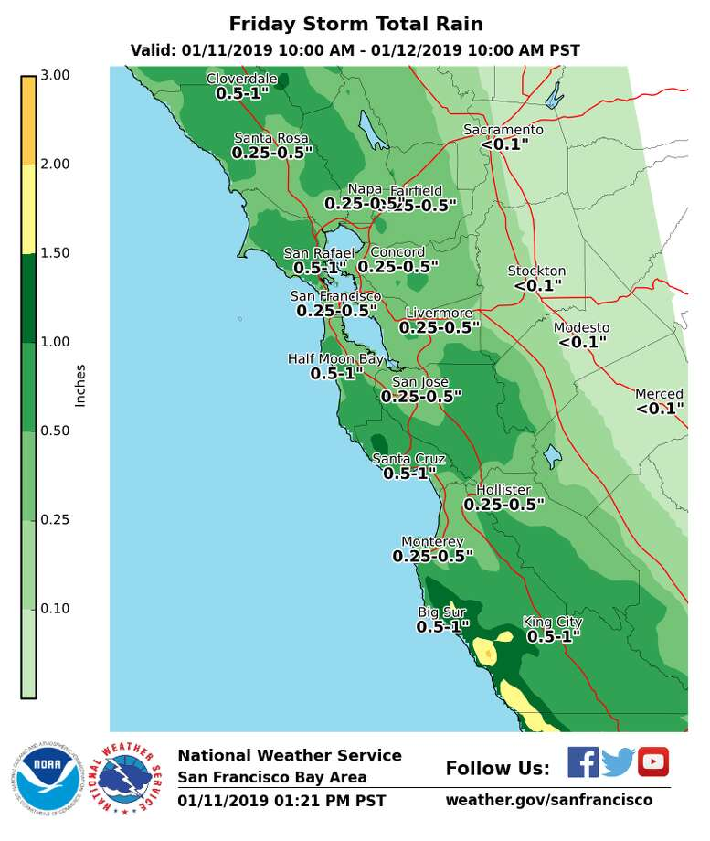 The National Weather Service rain forecast for Jan. 11 to Jan. 12, 2019. Photo: National Weather Service