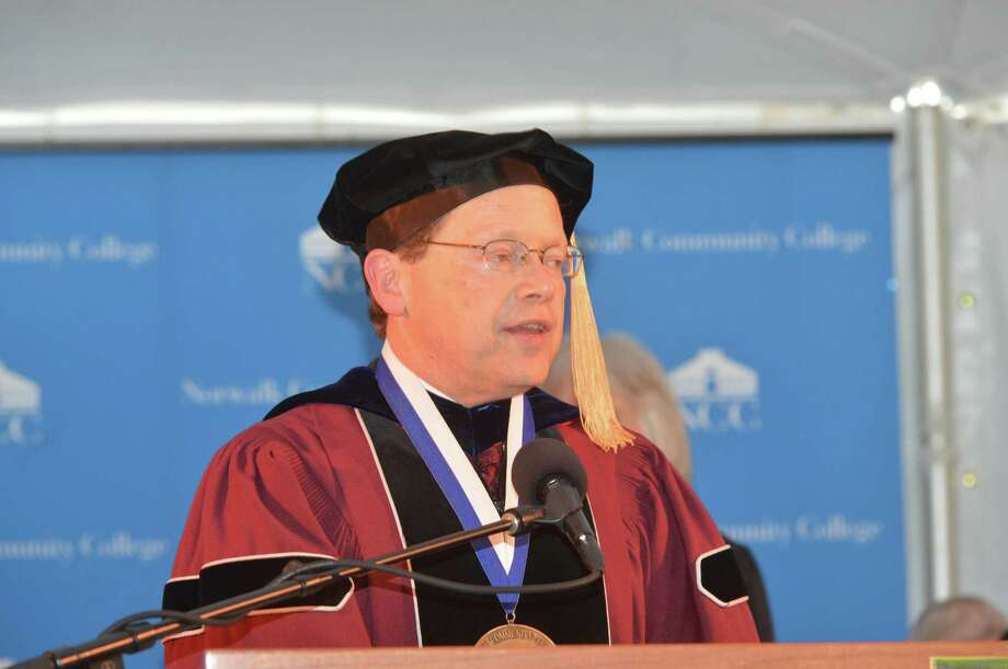 NCC President Dr. David Levinson adresses the crowd as Norwalk Community College holds its Fifty-Fifth Commencement Exercises on Thursday May 18, 2017 Photo: Alex Von Kleydorff / Hearst Connecticut Media / Norwalk Hour