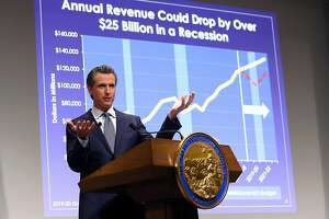 California Gov. Gavin Newsom presents his first state budget during a news conference, Thursday, Jan. 10, 2019, in Sacramento, Calif. (AP Photo/Rich Pedroncelli)