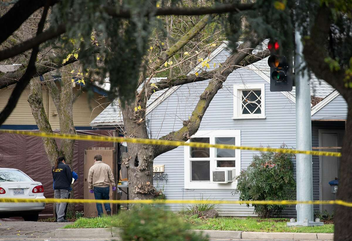 The house at the corner of 5th and E Streets in Davis, where the suspected shooter was found.