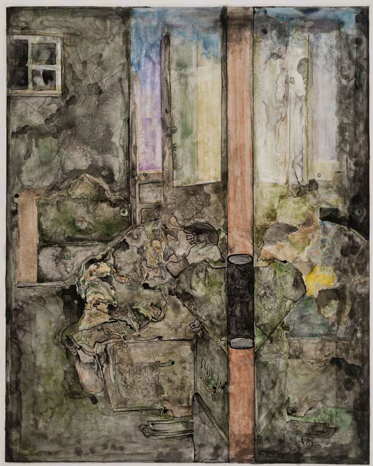 A recurring figure lifted from a Life magazine image of demoralized Vietnam War soldier John Farley that appears in many works by Jasper Johns is barely visible in this untitled ink and watercolor drawing on plastic, from 2015.
