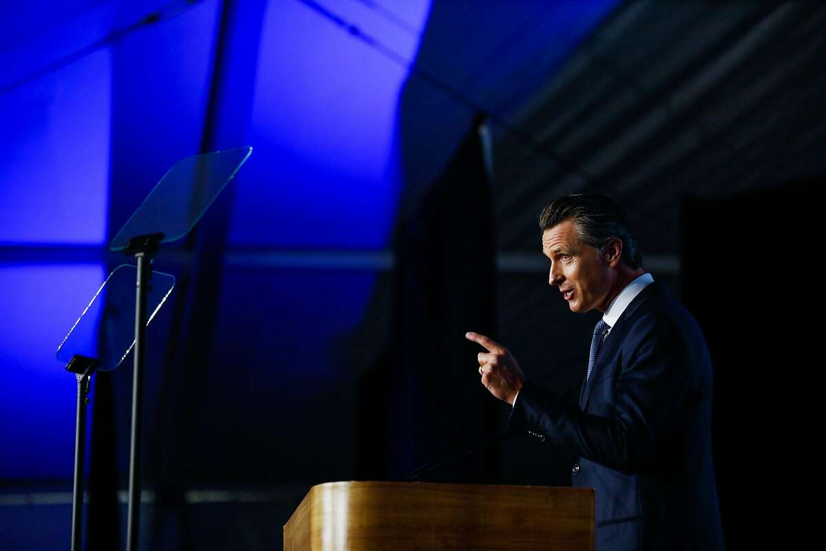 Governor Gavin Newsom gives a speech after taking the oath of office during his inauguration ceremony in Sacramento, California, on Monday, January 7th, 2019.