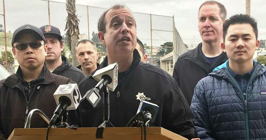 At a news conference Friday, Tony Montoya, president of the San Francisco Police Officers Association, proposed a mobile command unit for the Visitacion Valley neighborhood after an 88-year-old woman was badly beaten earlier in the week. Photo: The Chronicle