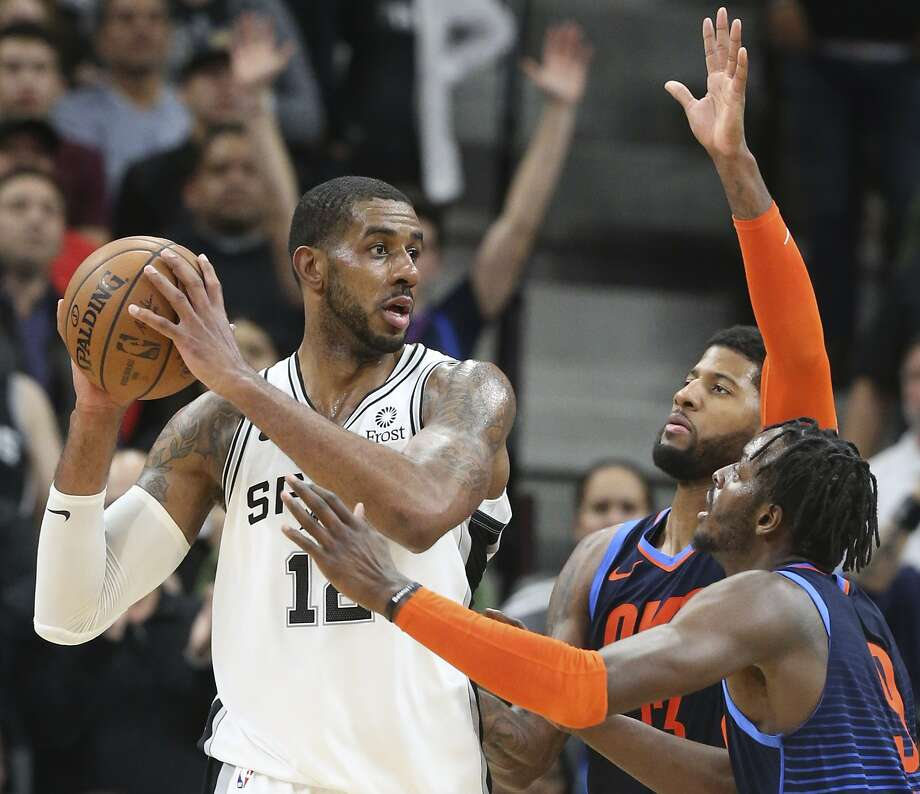 LaMarcus Aldridge sets up in the low post as the Spurs host Oklahoma at the AT&T Center on January 10, 2019. Photo: Tom Reel, Staff Photographer