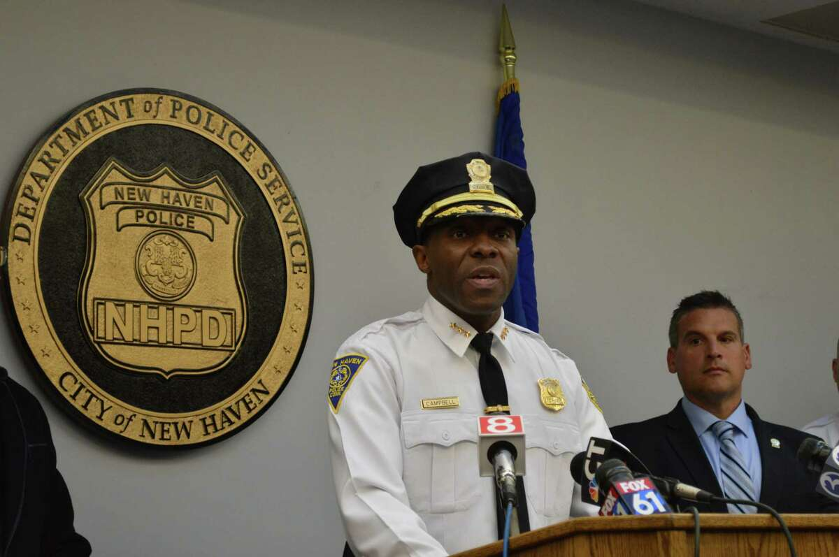 Police Chief Anthony Campbell addresses the media in a press conference at the New Haven Police Department Jan. 11, 2019.