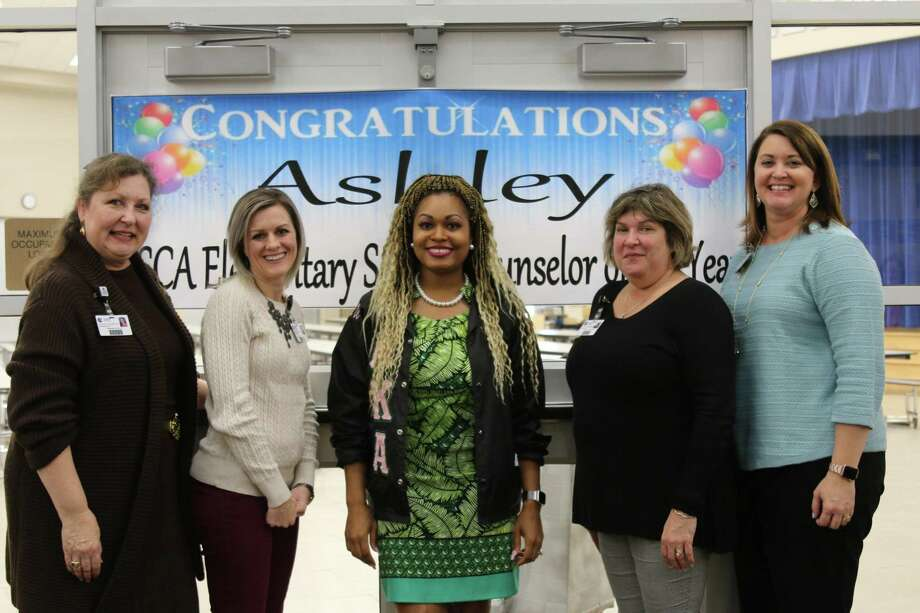 A Bradley Elementary School counselor, Ashley Wright, was recently named Elementary School Counselor of the Year by the Texas School Counselor association. The school's staff and parents held a surprise celebration for her Thursday, Jan. 10. Photo: Courtesy Photos / Courtesy Photos