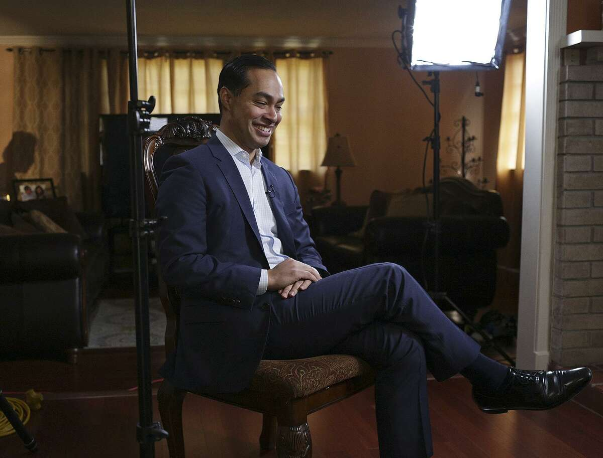 Julián Castro takes a break during an interview with MSNBC about his 2020 presidental plans at his home in San Antonio on Thursday.