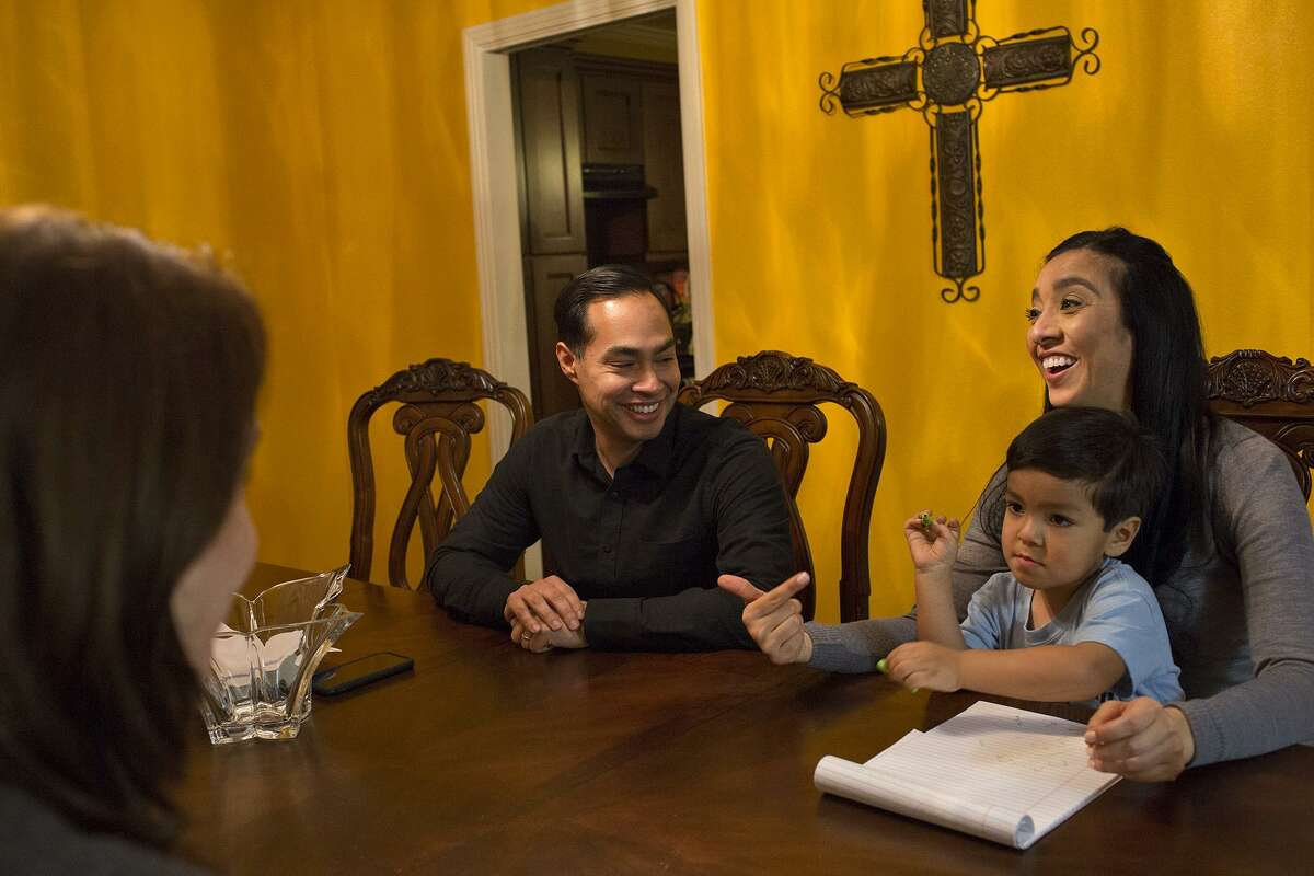 Castro talks about his 2020 presidential plans with his wife, Erica (holding their son, Cristián, 4) and Castro's senior adviser Jennifer Fiore, left.