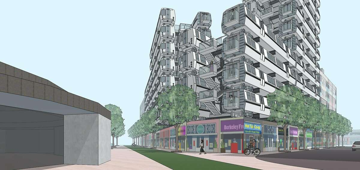 These artist's renderings depict the proposed re-use of decommissioned BART cars to create housing in the form of apartments as BART rolls out its new fleet of modern trains.