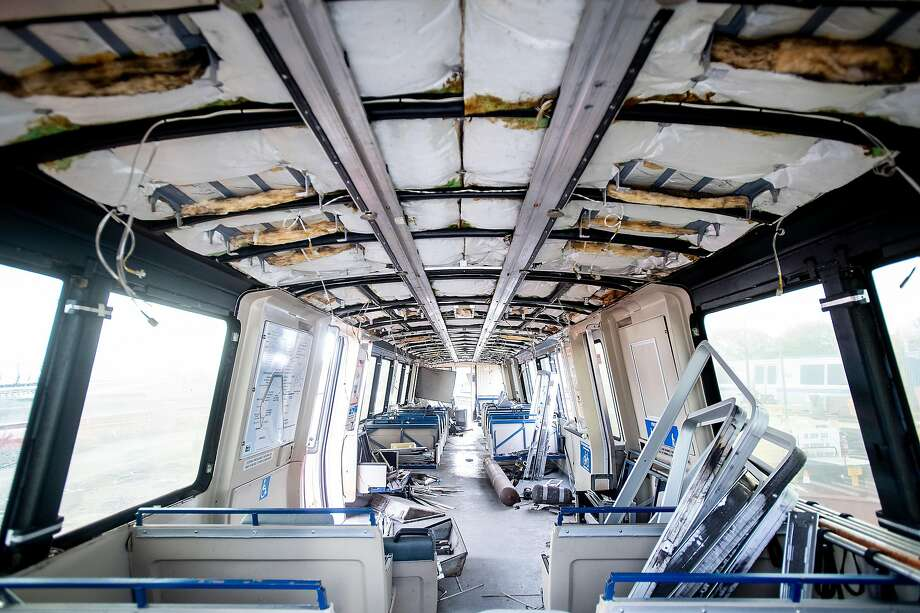 Rubble lines the interior of the first BART car slated to be decommissioned as new trains enter the transit system's fleet. The agency is seeking suggestions from the public on what to do with 669 older cars being replaced by the new Bombardier trains. Photo: Noah Berger / Special To The Chronicle