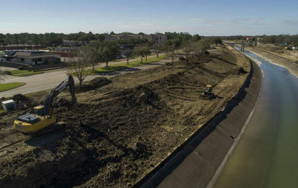 Work continues along the banks of the Brays Bayou to help prevent flooding in southwest Houston, the work is being funded with the coastal protection funds Friday, Jan. 11, 2019, in Houston.