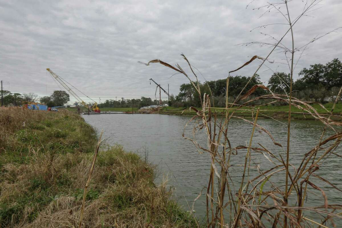 Work continues along the banks of the Brays Bayou, near Forest Hill and Dallas, to help prevent flooding in southwest Houston, the work is being funded with the coastal protection funds Friday, Jan. 11, 2019, in Houston.