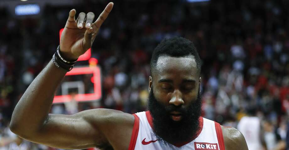 PHOTOS: Rockets game-by-game Houston Rockets guard James Harden (13) points skyward as he walks off the court following the Rockets 125-113 win over the Denver Nuggets during the second half of an NBA basketball game at Toyota Center on Monday, Jan. 7, 2019, in Houston. Browse through the photos to see how the Rockets have fared in each game this season. Photo: Brett Coomer/Staff Photographer