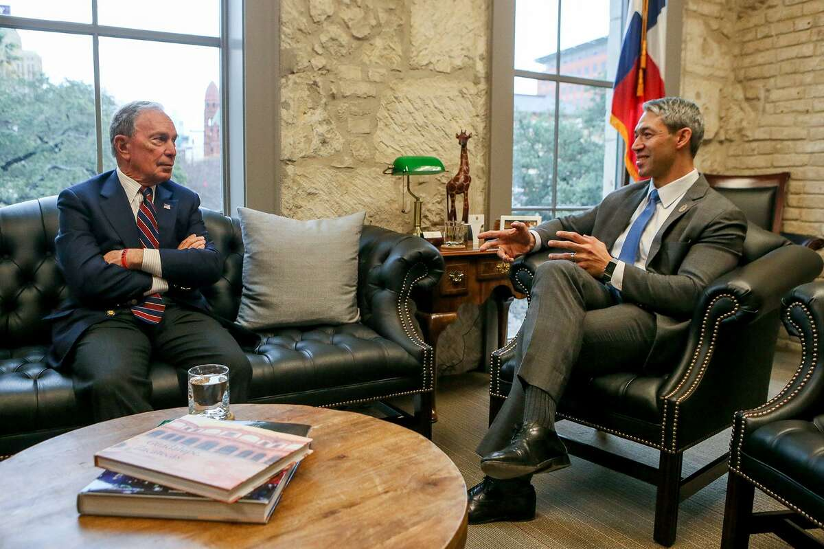 Michael Bloomberg, left, the United Nations special envoy for climate action and former New York City mayor, meets with San Antonio Mayor Ron Nirenberg on Jan. 11, 2019, before Bloomberg announced that his philanthropy organization will provide up to $2.5 million to support San Antonio's climate action plan.