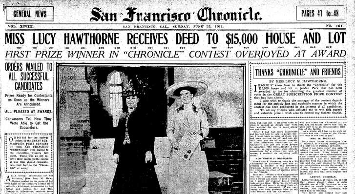 The winner of the grand prize, a $15,000 house in Jordan Park in the Richmond District, was Lucy Hawthorne, who collected her largesse on her 19th birthday. The house is gone now, replaced by apartments.