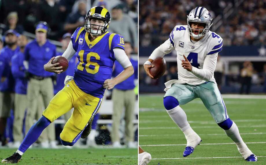 FILE - At left, in a Dec. 16, 2018, file photo, Los Angeles Rams quarterback Jared Goff carries the ball during an NFL football game against the Philadelphia Eagles, in Los Angeles. At right, in a Nov. 22, 2018, file photo, Dallas Cowboys quarterback Dak Prescott (4) scrambles against the Washington Redskins during the first half of an NFL football game, in Arlington, Texas. The Rams and Cowboys meet in a divisional playoff game on Saturday, Jan. 12, 2019.  (AP Photo/File) / AP