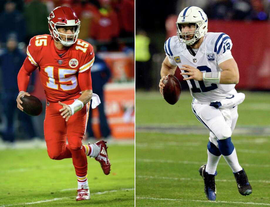 FILE - At left, in a Dec. 13, 2018, file photo, Kansas City Chiefs quarterback Patrick Mahomes (15) scrambles during an NFL football game in Kansas City, Mo. At right, in a Dec. 30, 2018, file photo, Indianapolis Colts quarterback Andrew Luck scrambles during an NFL football game in Nashville, Tenn. The Colts play the Chiefs in a divisional playoff game on Saturday, Jan. 12, 2019.(AP Photo/File) / AP
