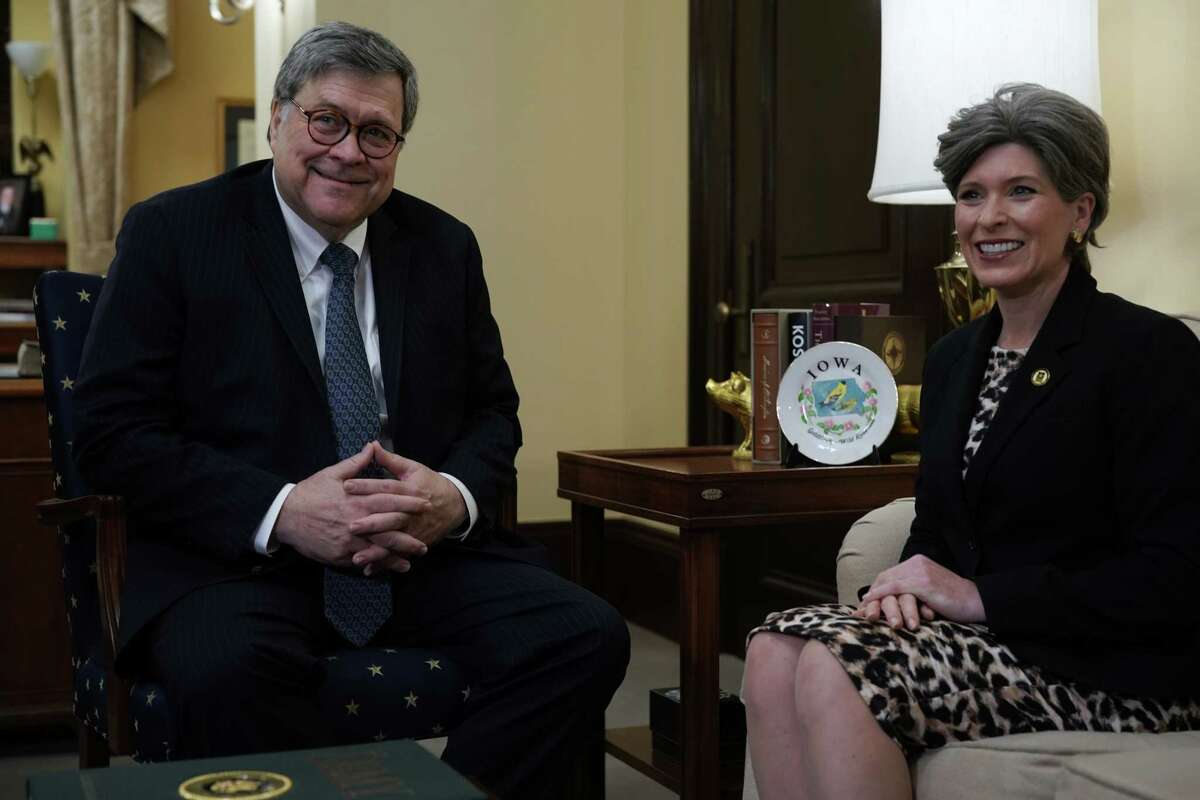 WASHINGTON, DC - JANUARY 10: Attorney General nominee William Barr (L) meets with Sen. Joni Ernst (R-IA) (R) January 10, 2019 on Capitol Hill in Washington, DC. The confirmation hearing for Barr is scheduled to be held next week. (Photo by Alex Wong/Getty Images)
