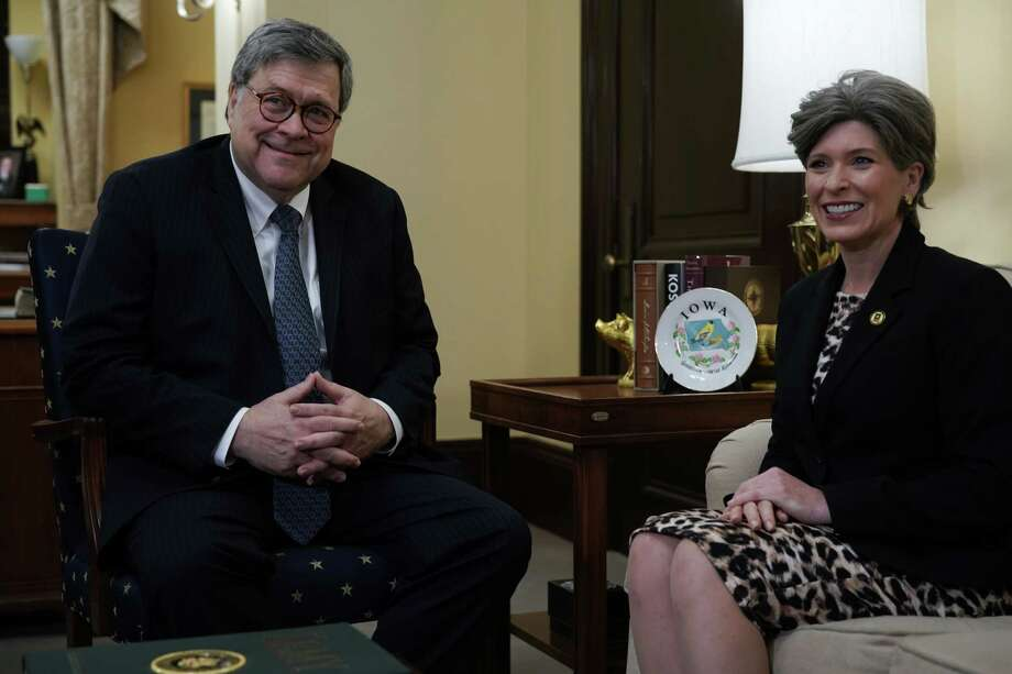WASHINGTON, DC - JANUARY 10:  Attorney General nominee William Barr (L) meets with Sen. Joni Ernst (R-IA) (R) January 10, 2019 on Capitol Hill in Washington, DC. The confirmation hearing for Barr is scheduled to be held next week.  (Photo by Alex Wong/Getty Images) Photo: Alex Wong / 2019 Getty Images