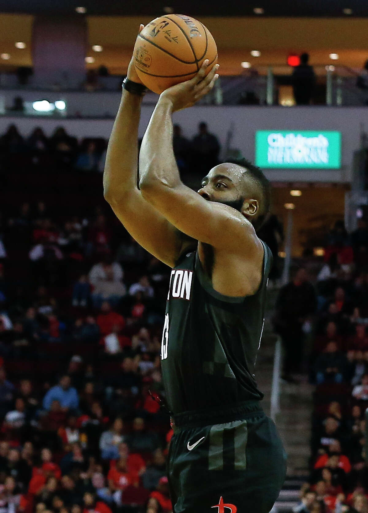 Houston Rockets guard James Harden (13) aims for the basket during the third quarter of the NBA game against the Cleveland Cavaliers at Toyota Center on Friday, Jan. 11, 2019, in Houston. The Houston Rockets defeated the Cleveland Cavaliers 141-113.