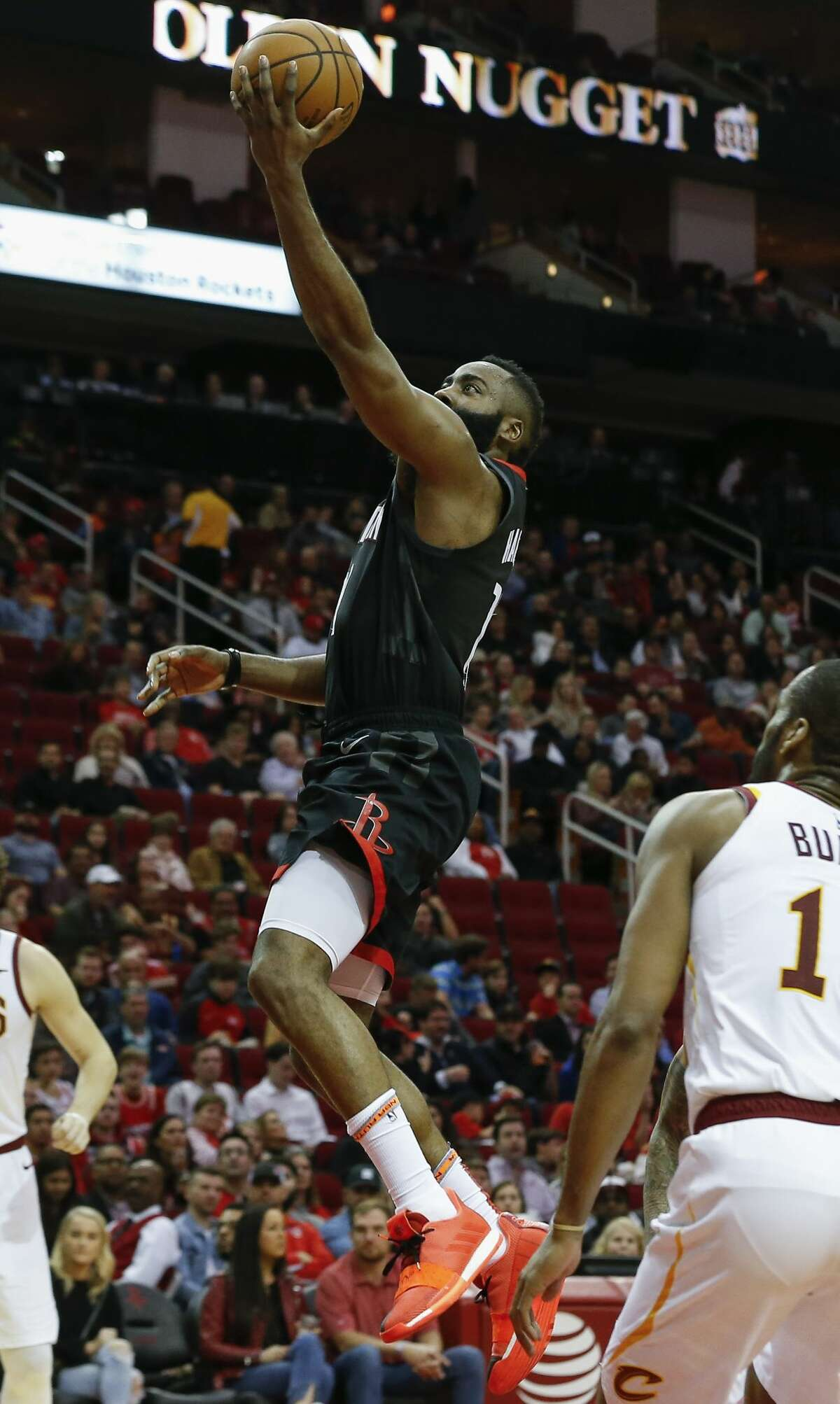 Houston Rockets guard James Harden (13) goes for a lay up during the third quarter of the NBA game against the Cleveland Cavaliers at Toyota Center on Friday, Jan. 11, 2019, in Houston. The Houston Rockets defeated the Cleveland Cavaliers 141-113.