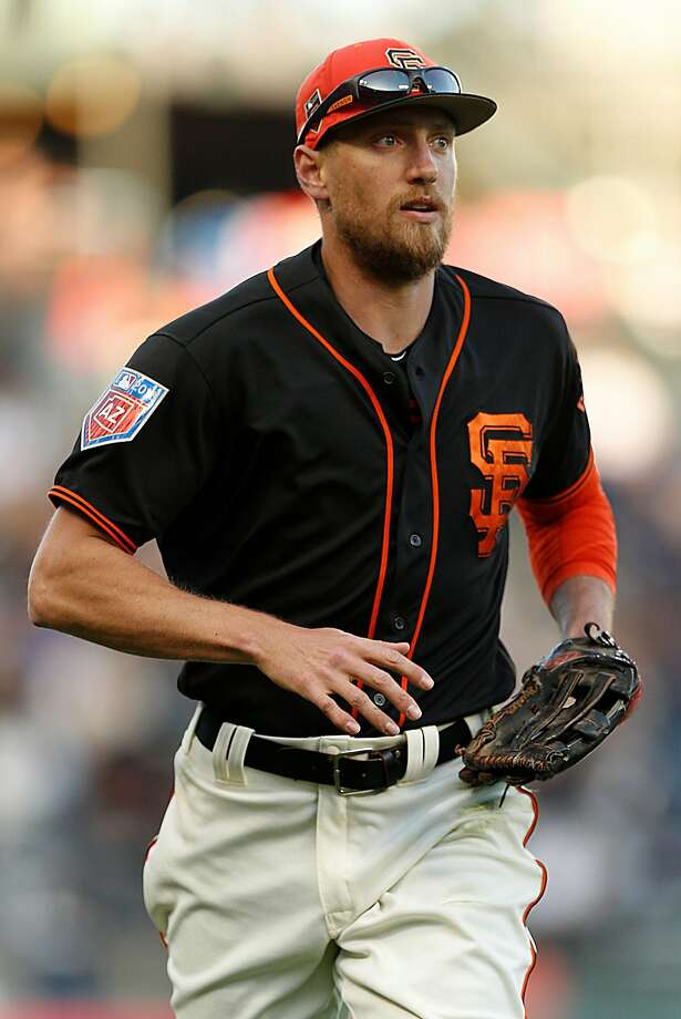 San Francisco Giants right fielder Hunter Pence (8) during a Spring Training MLB game between the San Francisco Giants and Oakland Athletics at AT&T Park, Tuesday, March 27, 2018, in San Francisco, Calif. Photo: Santiago Mejia, The Chronicle