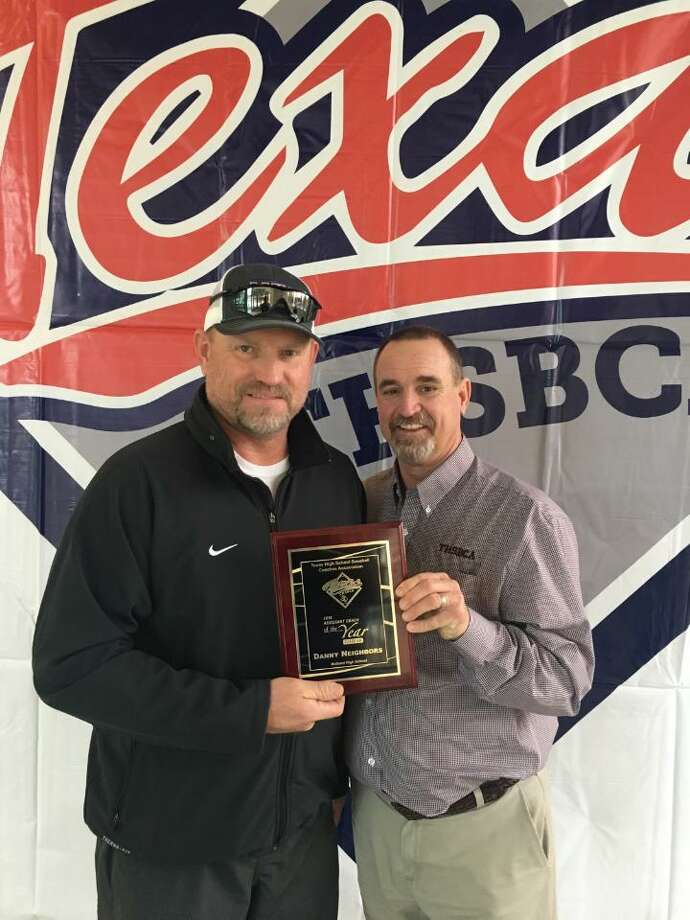 Midland High baseball assistant coach Danny Neighbors was recognized by the THSBCA as the Class 6A Assistant Coach of the Year for 2018. Neighbors, left, is shown with his award next to retired MHS baseball coach and president of the Texas High School Baseball Coaches Association Barry Russell. Photo: Courtesy Photo