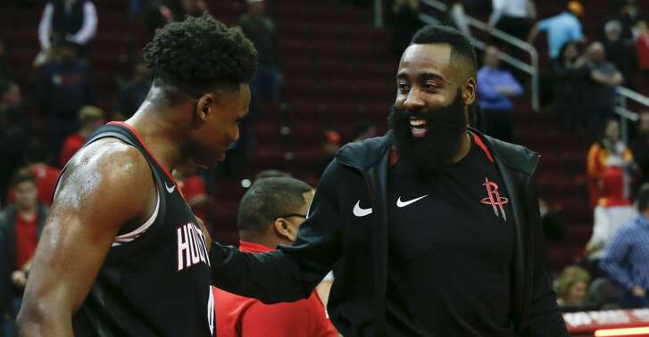 Houston Rockets guard James Harden, right, talks to Danuel House Jr. after the NBA game against the Cleveland Cavaliers at Toyota Center on Friday, Jan. 11, 2019, in Houston. The Houston Rockets defeated the Cleveland Cavaliers 141-113.