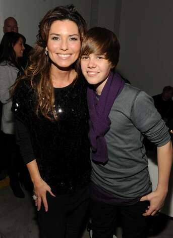 NEW YORK - DECEMBER 08:  Singers Shania Twain (L) and Justin Bieber attend  the launch of VEVO, the world's premiere destination for premium music video and entertainmentat Skylight Studio on December 8, 2009 in New York City.  (Photo by Theo Wargo/Getty Images for VEVO) *** Local Caption *** Shania Twain;Justin Bieber Photo: Theo Wargo, Getty Images For VEVO / 2009 Getty Images