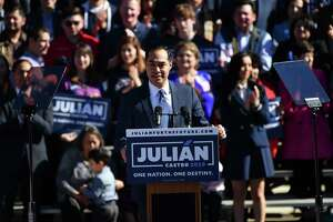 Julian Castro announces he is running president of United States in the 2020 election at Plaza Guadalupe on Saturday, Jan. 12, 2019.
