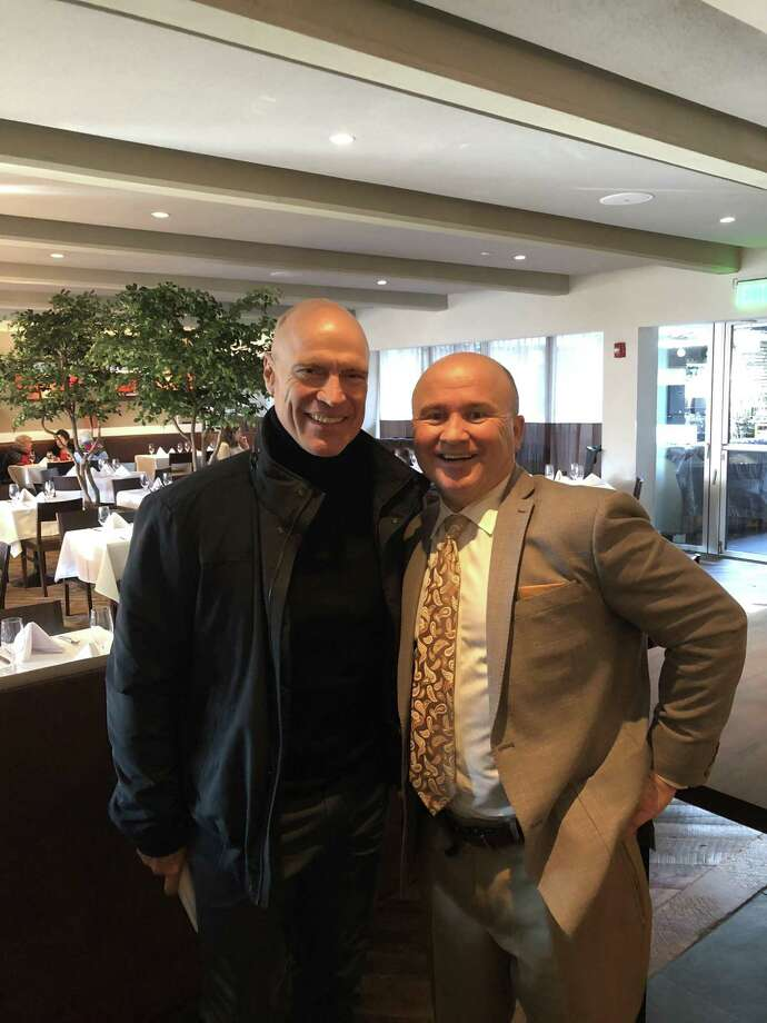 Greenwich resident and former NHL star Mark Messier with Tony Capasso at Tony's at the JHouse in Riverside. Photo: Contributed /