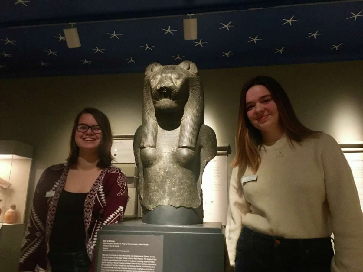 Alaina March, left, and Adeline Weatherwax stand in the Albany Institute of History and Art's ancient Egypt exhibit. The two first-year interpreters, both students at Tech Valley High, joined the program after encouragement from the pair's social studies teacher.