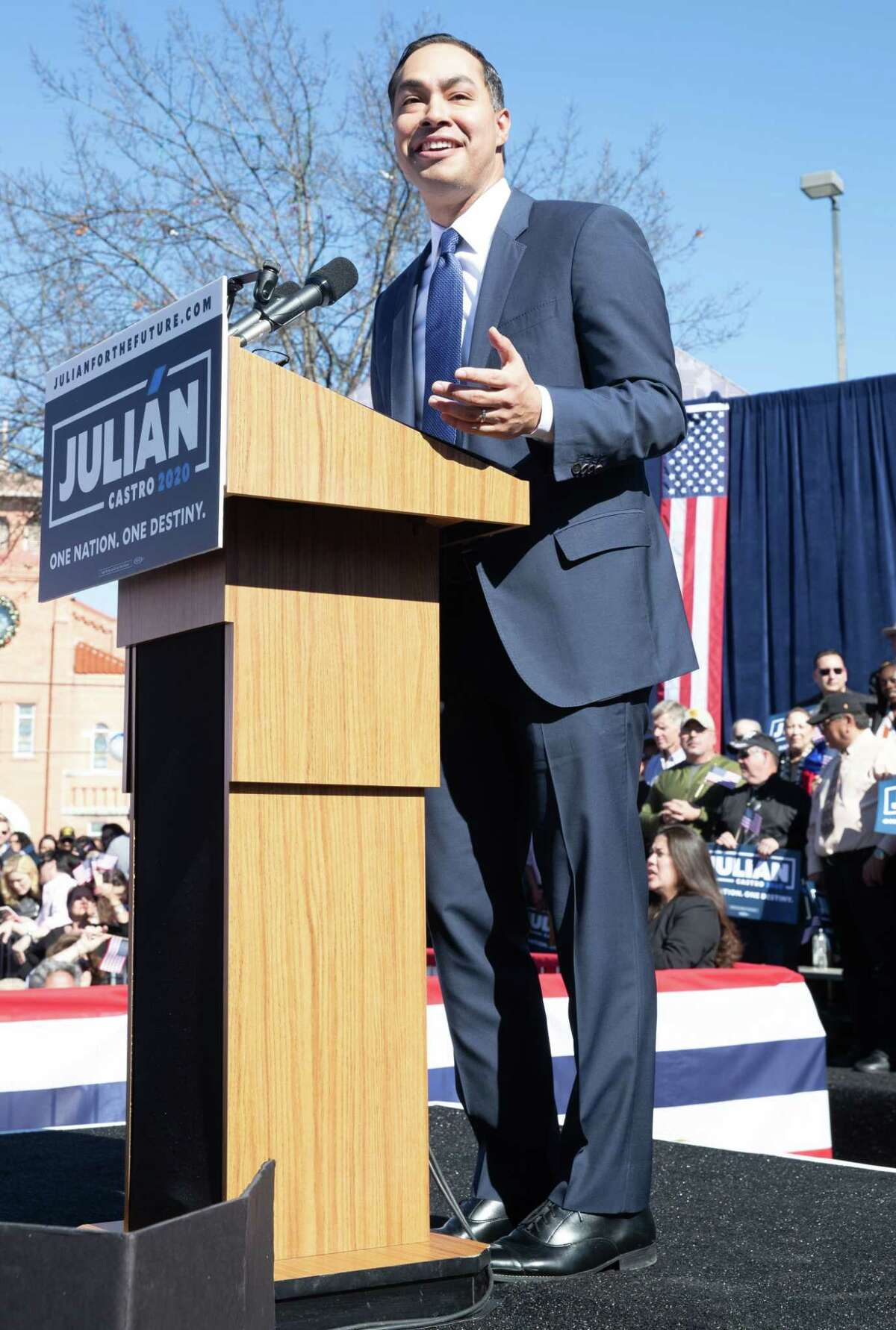Former United States Secretary of Housing and Urban Development Juliàn Castro announces his candidacy for President of the United States in his hometown of San Antonio, Texas on January 12, 2019. (Photo by SUZANNE CORDEIRO / AFP)SUZANNE CORDEIRO/AFP/Getty Images