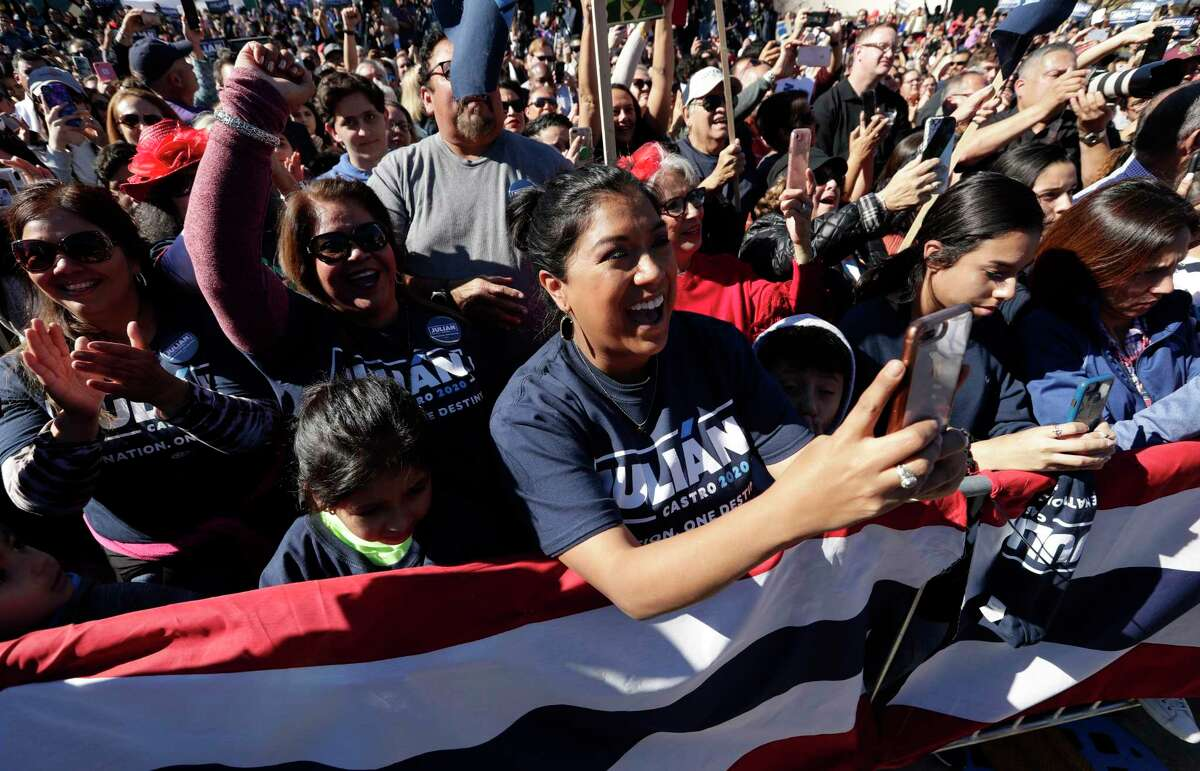Supporters cheer for former San Antonio Mayor and Housing and Urban Development Secretary Julian Castro an event where he announced his decision to seek the 2020 Democratic presidential nomination, Saturday, Jan. 12, 2019, in San Antonio. (AP Photo/Eric Gay)