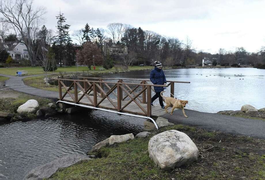 Old Greenwich resident Meghan Schnelle and her dog Kiwi walk through Binney Park in Old Greenwich, Conn. on Wednesday, Jan. 9, 2019. Photo: Tyler Sizemore / Hearst Connecticut Media / Greenwich Time