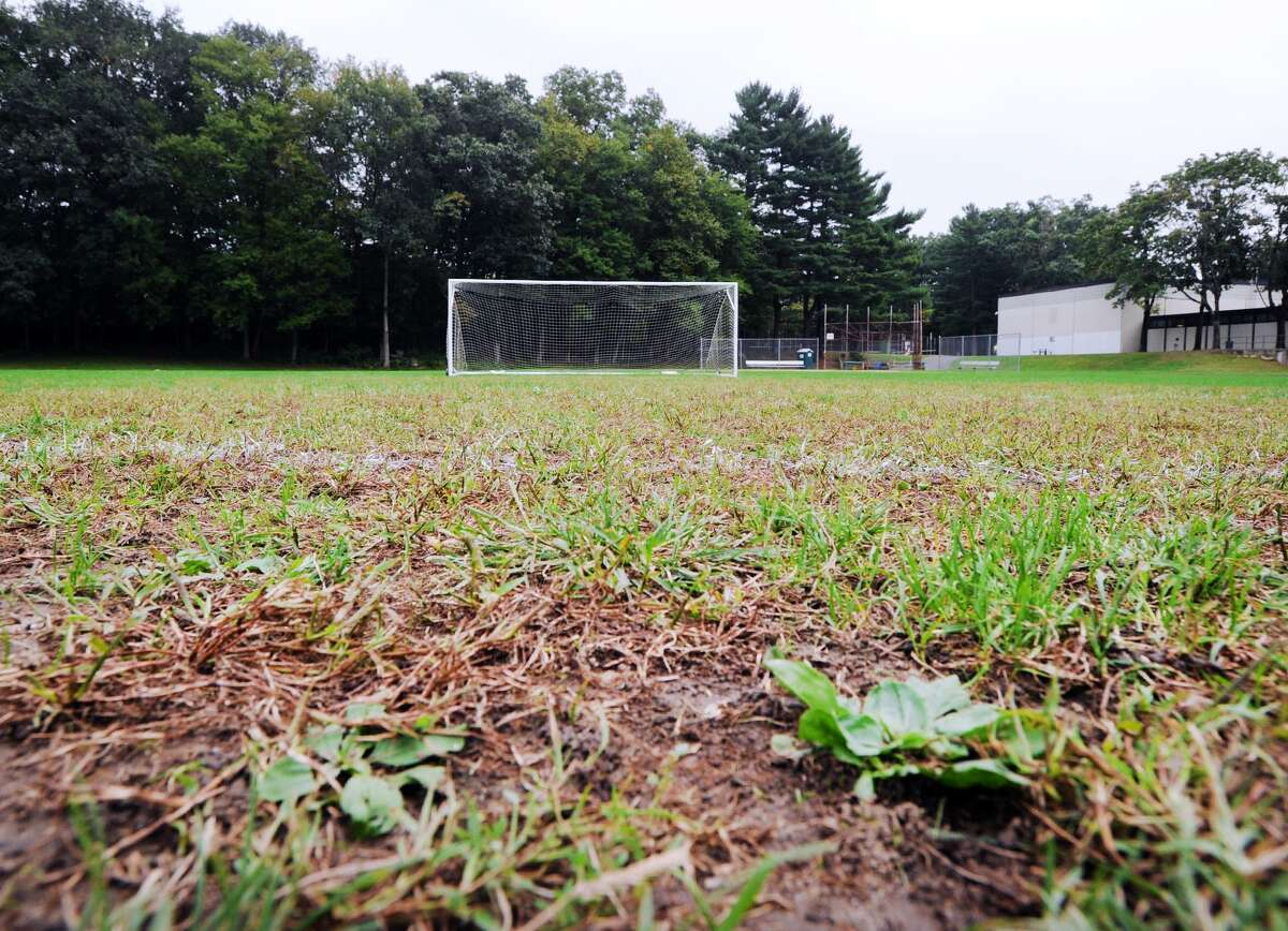 A soccer goal can be seen on the athletic field at Central Middle School in Greenwich, Conn., Thursday, Oct. 4, 2018.