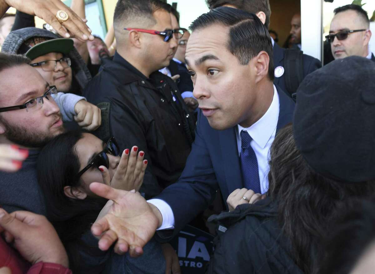 Julian Castro greets people after he announced that he is running for president of the United State in 2020 during a rally at Plaza Guadalupe on Saturday, Jan. 12, 2019.