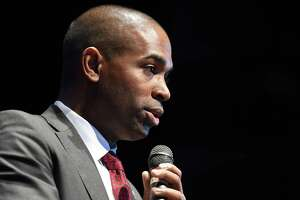 Rep. Antonio Delgado addresses the crowd during his swearing-in celebration Saturday, Jan. 12, 2019 at Hudson Hall in Hudson, N.Y. (Phoebe Sheehan/Times Union)
