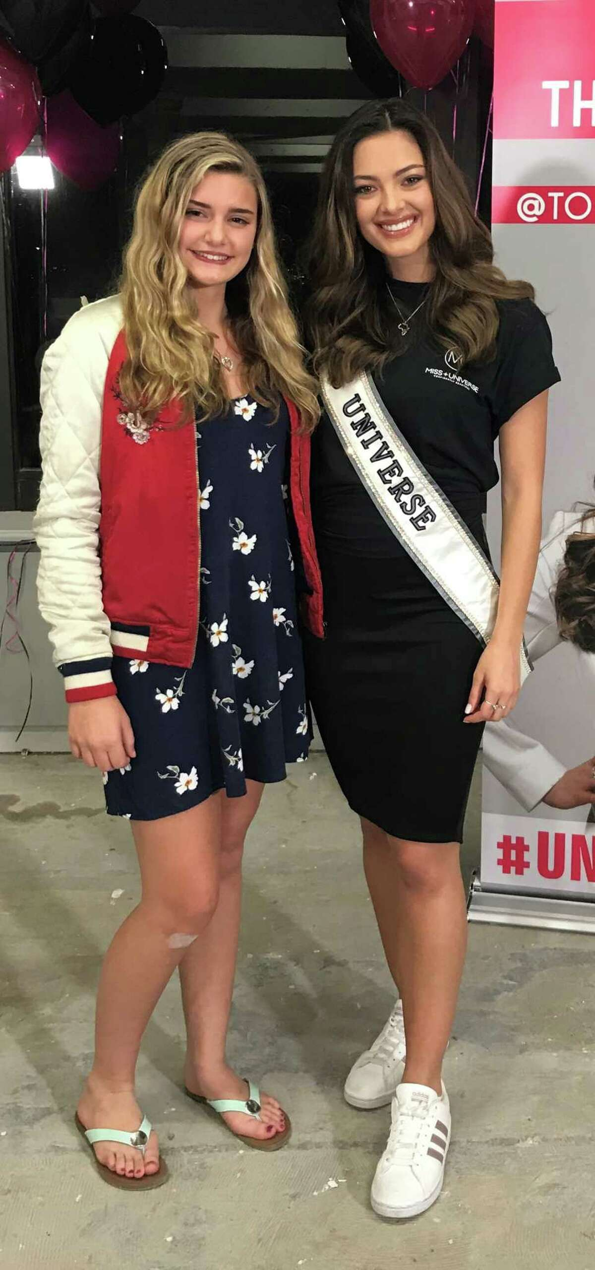 Lois Freemantle, 14, of Nassau, left, is competing in Miss New York Teen USA pageant in Purchase on Jan. 18-20. She attends Columbia High School in East Greenbush and volunteered at the Nassau resource food bank. She plays violin, takes Tae Kwon Do as a yellow belt. She recently got to meet Miss Universe Demi Leigh Peters.