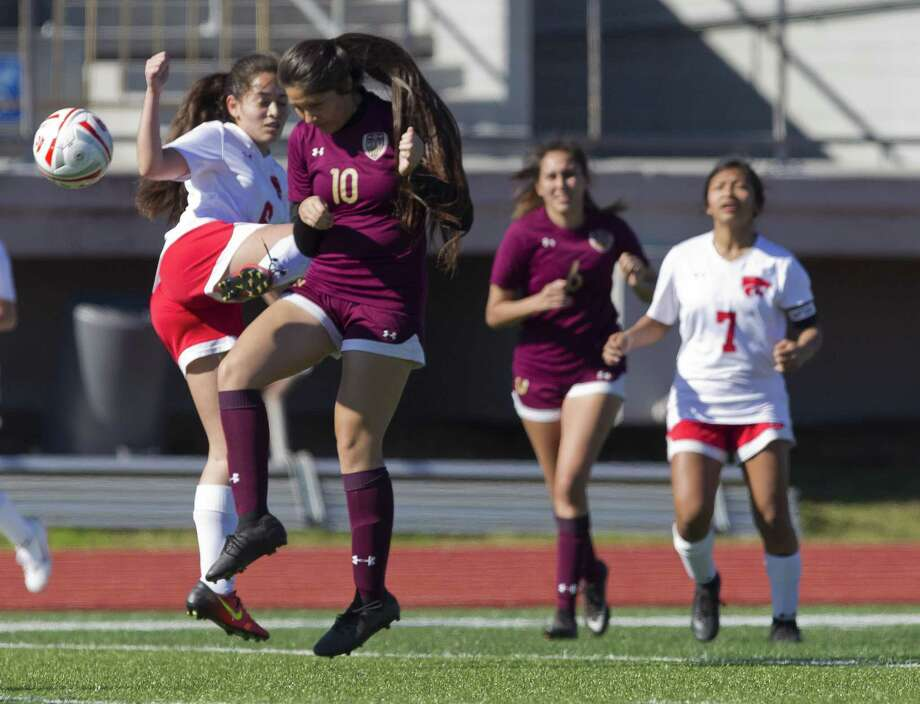 Sonia Garza (6) of Splendora and America Gonzalez (10) of Magnolia West collide going for the ball in the first period of a match during the Willis Kat Cup soccer tournament at Berton A. Yates Stadium, Saturday, Jan. 12, 2019, in Willis. Photo: Jason Fochtman, Houston Chronicle / Staff Photographer / © 2019 Houston Chronicle