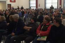 An overflow crowd filled Derby's Middle School on Jan. 12, 2019 to hear U.S. Sen. Chris Murphy discuss and answer questions about issues confronting the federal government.