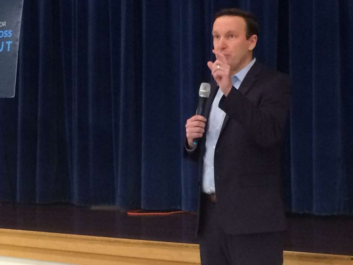 U.S. Sen. Chris Murphy makes a point during to a standing room only crowd during his Town Hall meeting Jan. 12, 2019 at Derby Middle School.