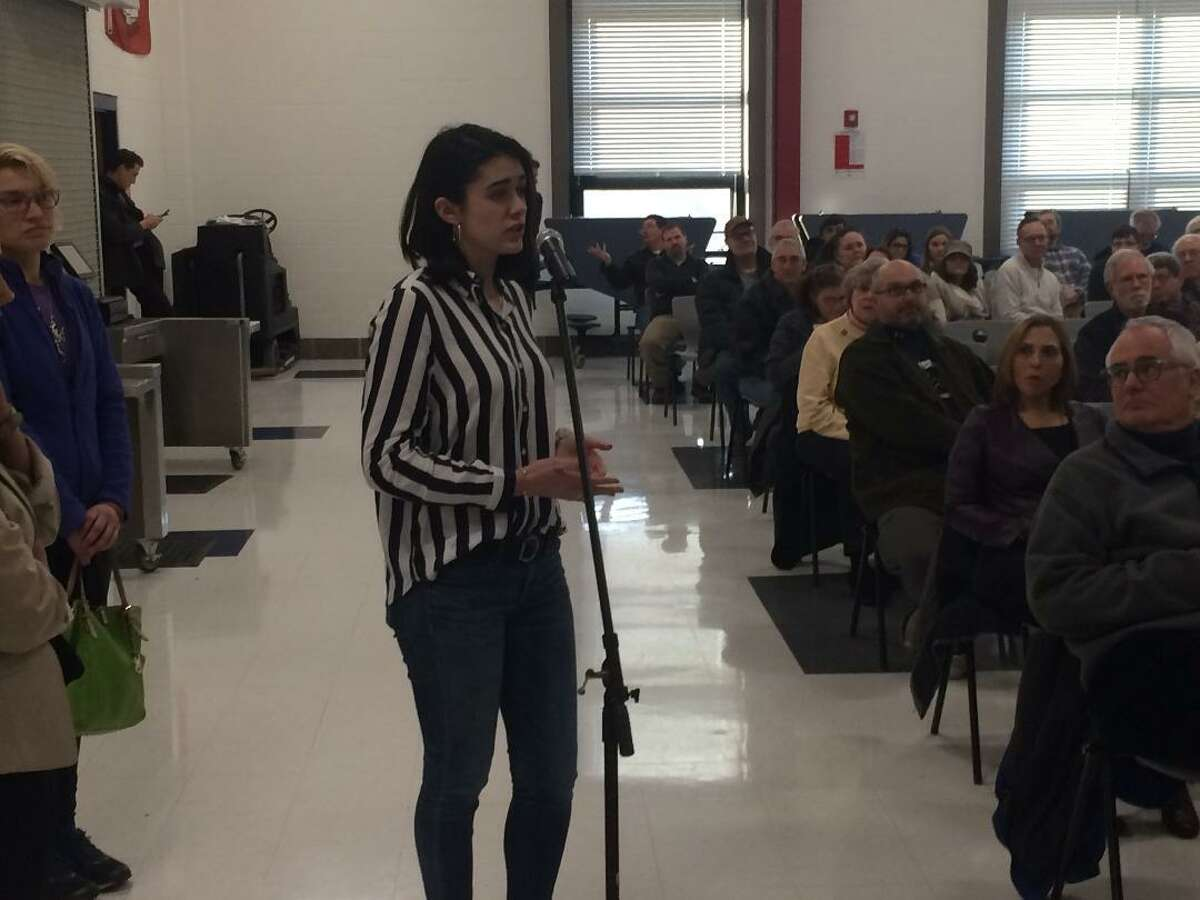 Brooke Rondeau traveled to Derby from Bozrah to question U.S. Sen. Chris Murphy during his Jan. 12, 2019 Town Meeting, about efforts to control climate change.